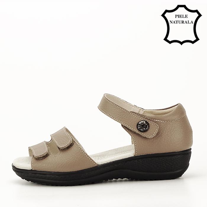 Sandale maro deschis din piele naturala Agata 8