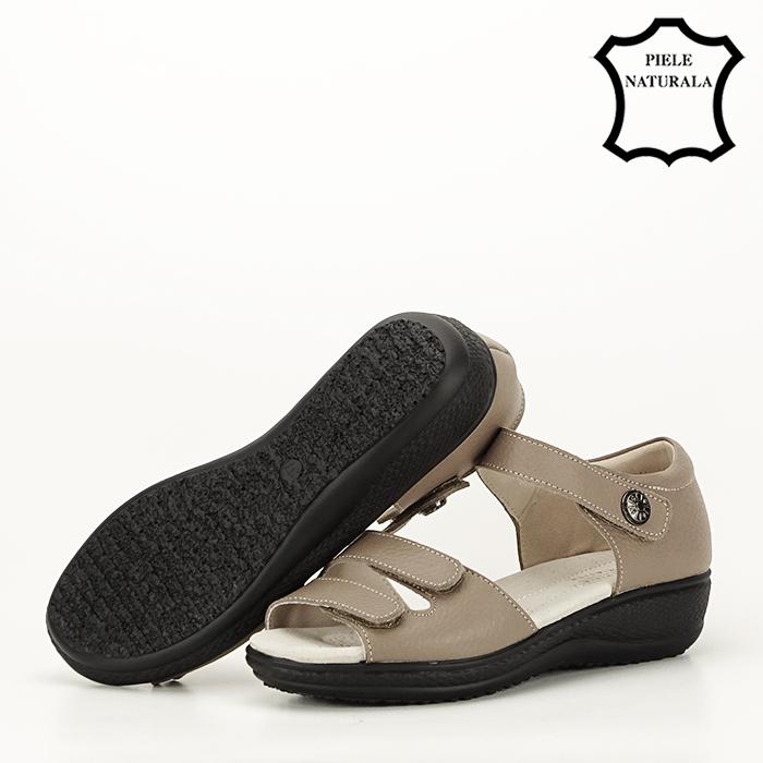 Sandale maro deschis din piele naturala Agata 5