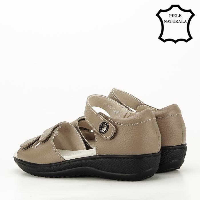 Sandale maro deschis din piele naturala Agata 7