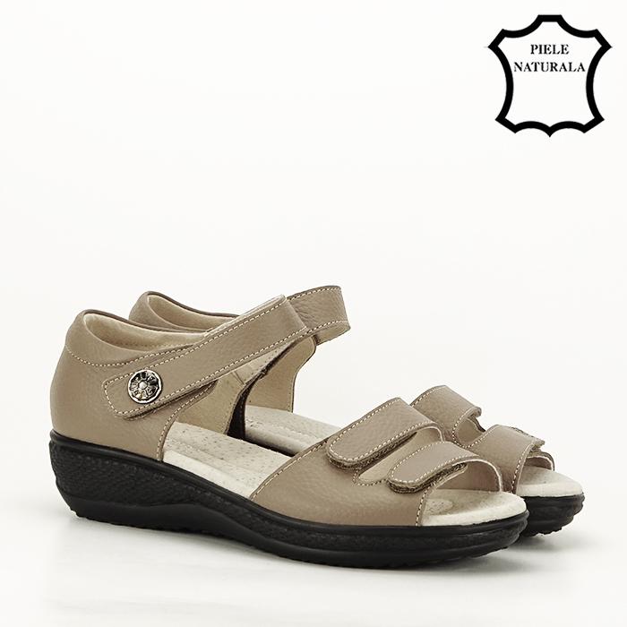 Sandale maro deschis din piele naturala Agata 6