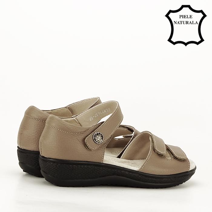 Sandale maro deschis din piele naturala Agata 3