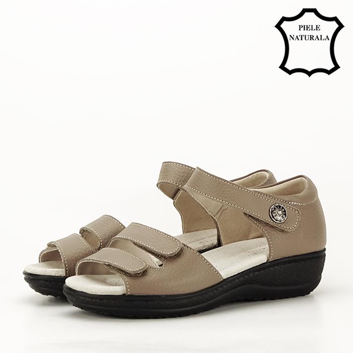 Sandale maro deschis din piele naturala Agata 1