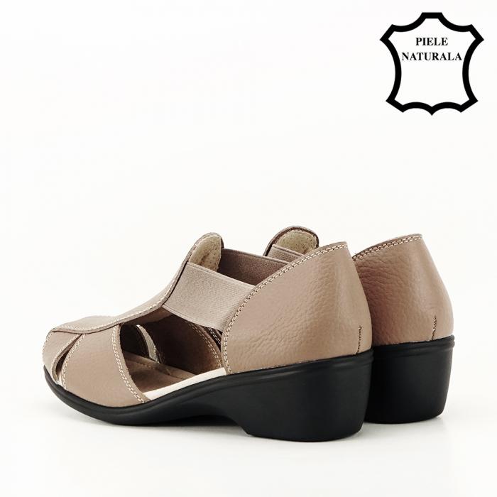 Sandale maro deschis din piele naturala Calypso 7