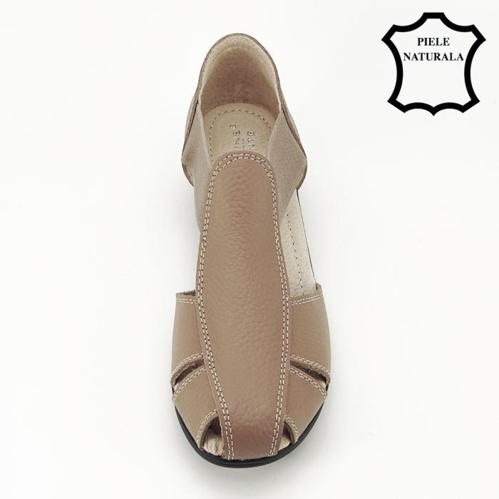 Sandale maro deschis din piele naturala Calypso 2