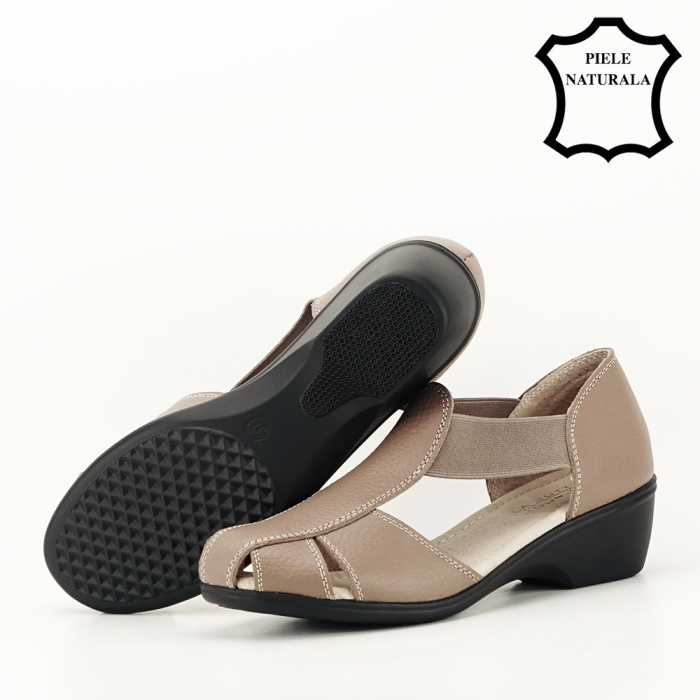 Sandale maro deschis din piele naturala Calypso 4