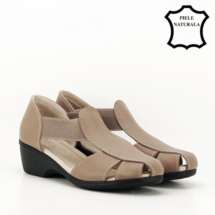 Sandale maro deschis din piele naturala Calypso 6