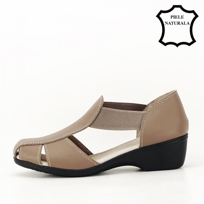 Sandale maro deschis din piele naturala Calypso 1