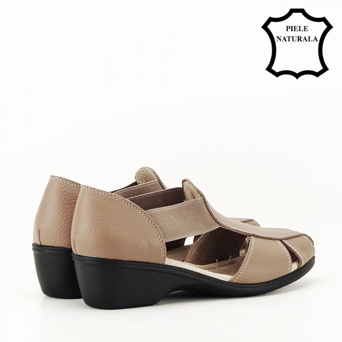 Sandale maro deschis din piele naturala Calypso 3