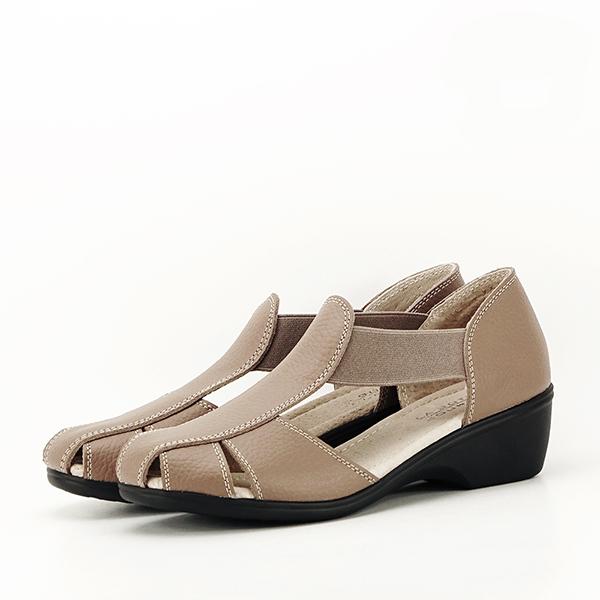 Sandale maro deschis din piele naturala Calypso 0