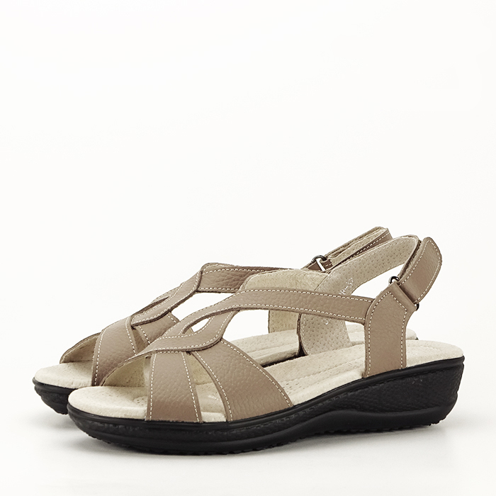 Sandale maro deschis din piele naturala Mabel 0
