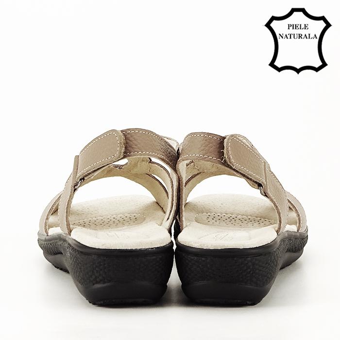 Sandale maro deschis din piele naturala Mabel 5