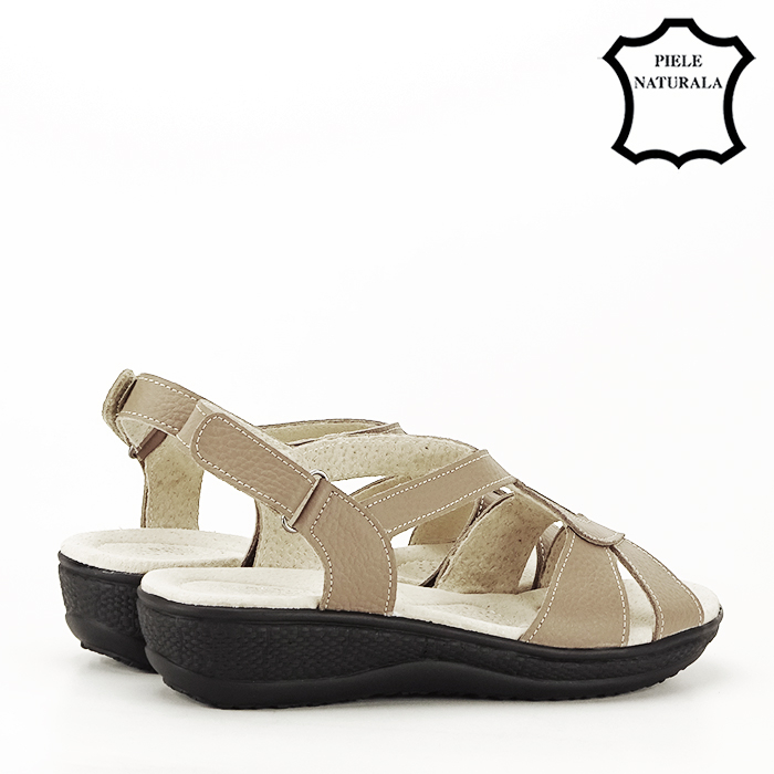 Sandale maro deschis din piele naturala Mabel 4