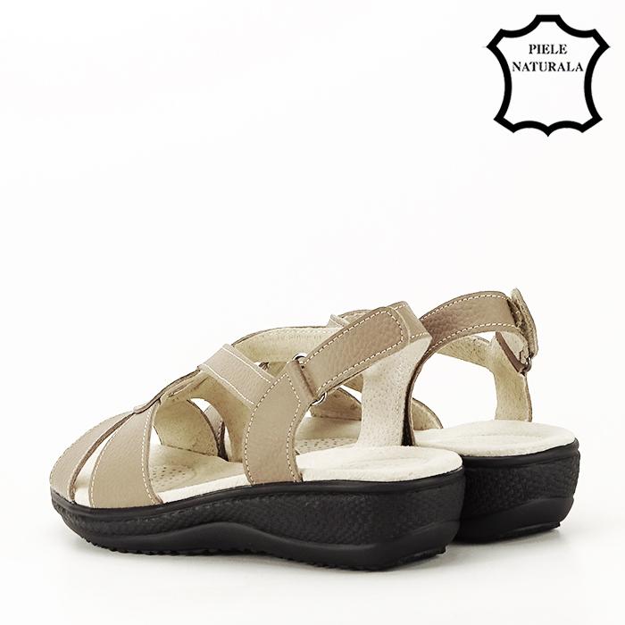 Sandale maro deschis din piele naturala Mabel 6
