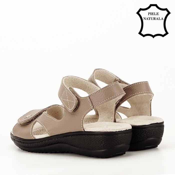 Sandale maro deschis din piele naturala Sara 4
