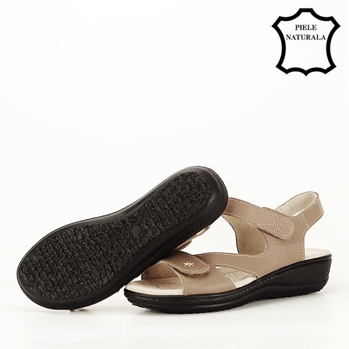 Sandale maro deschis din piele naturala Sara 3