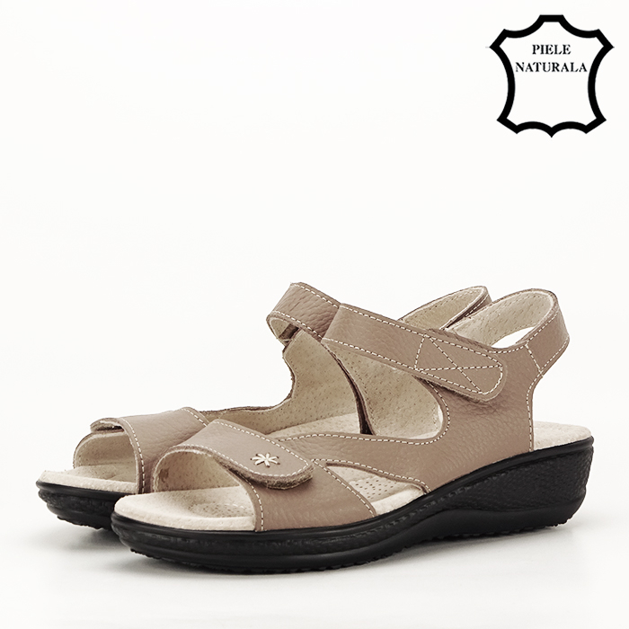 Sandale maro deschis din piele naturala Sara 1