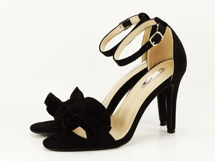 Sandale elegante negre cu toc FLowers 3