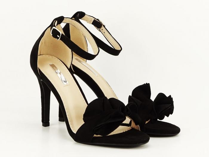Sandale elegante negre cu toc FLowers 0