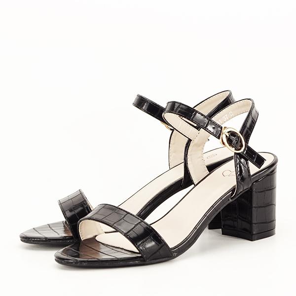 Sandale negre cu imprimeu Violeta [2]