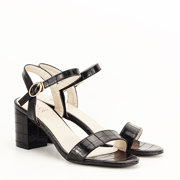 Sandale negre cu imprimeu Violeta [3]