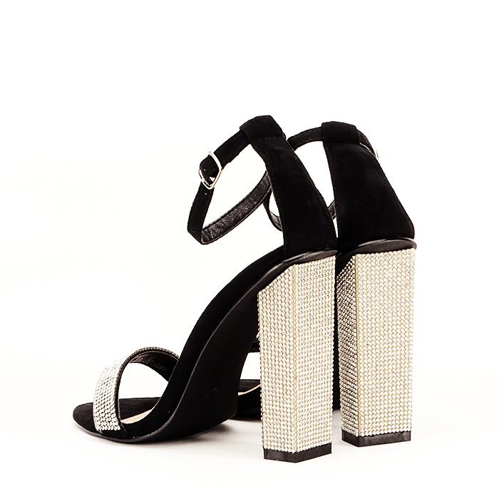 Sandale negre cu pietricele Agness 3