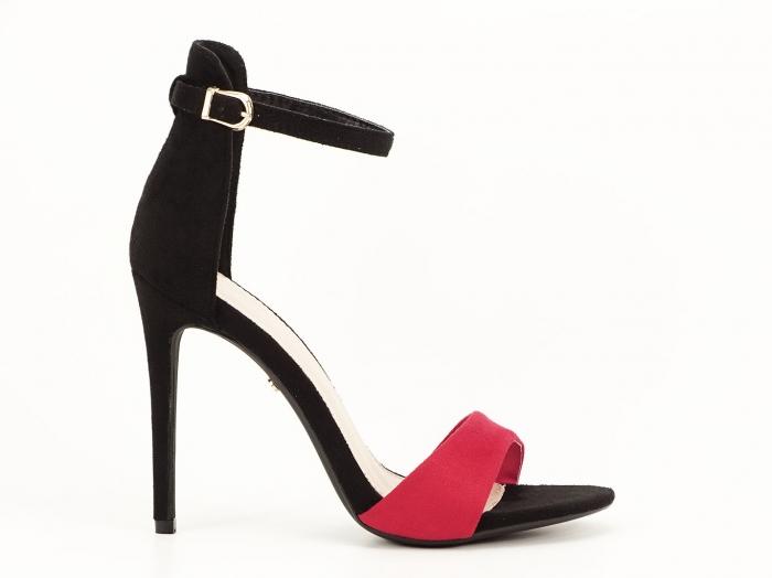 Sandale dama elegante negru cu rosu Simina 1