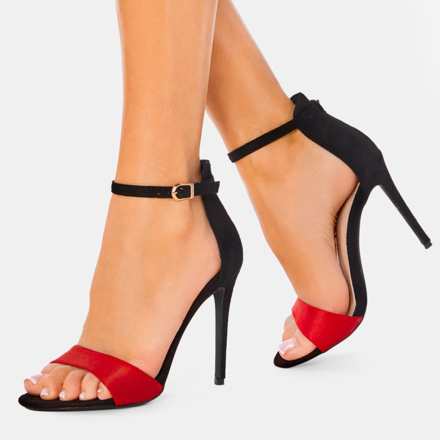 Sandale dama elegante negru cu rosu Simina 0