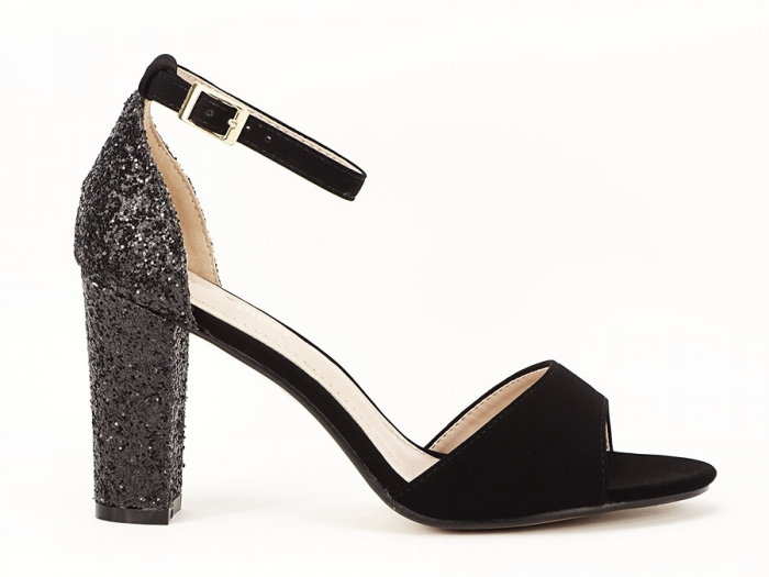 Sandale negre cu sclipici pe toc Amanda 0