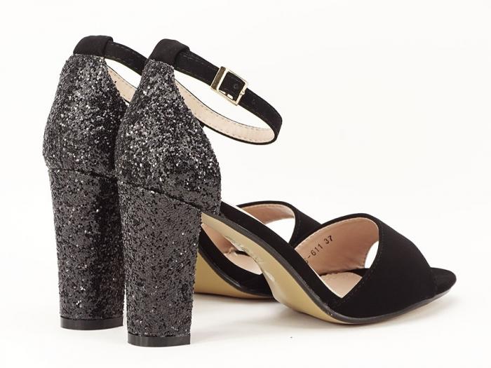 Sandale negre cu sclipici pe toc Amanda 1