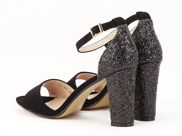 Sandale negre cu sclipici pe toc Amanda 5