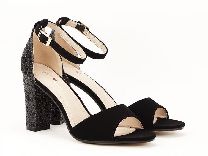 Sandale negre cu sclipici pe toc Amanda 3