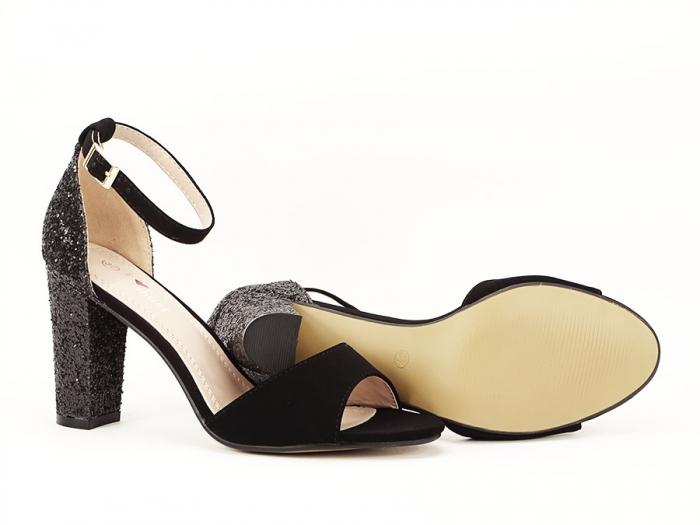 Sandale negre cu sclipici pe toc Amanda