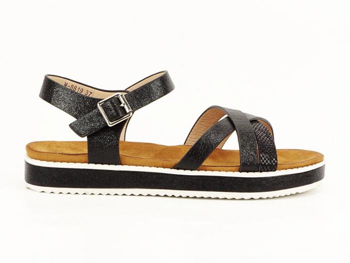Sandale negre cu talpa joasa Cara 0