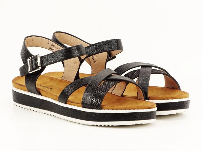 Sandale negre cu talpa joasa Cara 1