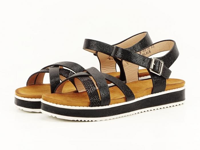 Sandale negre cu talpa joasa Cara 5