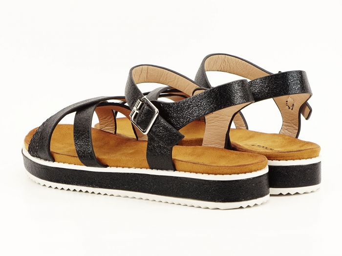 Sandale negre cu talpa joasa Cara 3