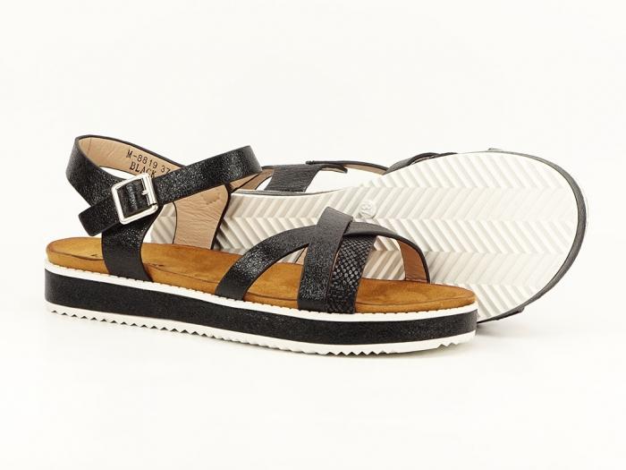 Sandale negre cu talpa joasa Cara 4