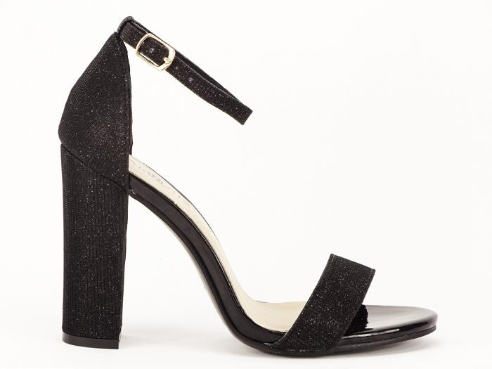 Sandale dama negre elegante cu fir sclipicios Caprice 0
