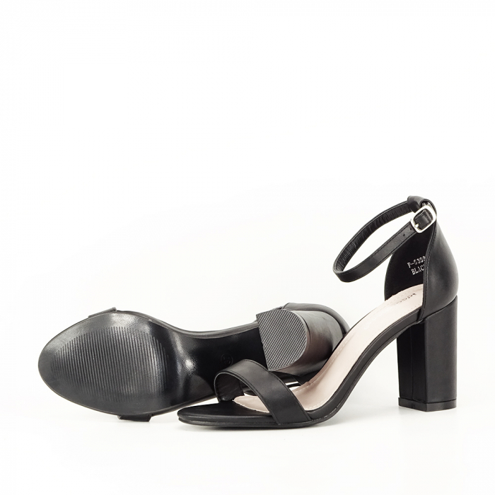 Sandale negre cu toc gros Ingrid 7