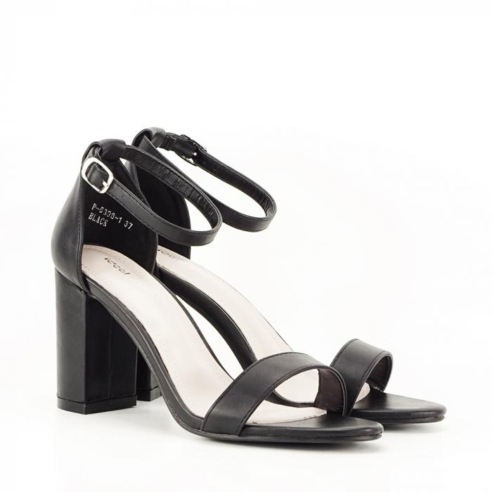 Sandale negre cu toc gros Ingrid 5