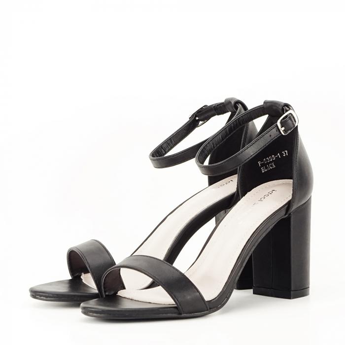 Sandale negre cu toc gros Ingrid 1