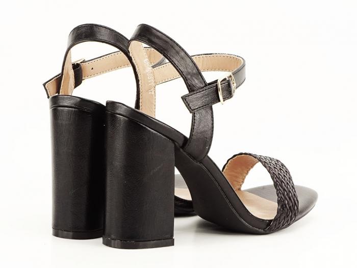 Sandale negre dama cu toc gros Leya 2