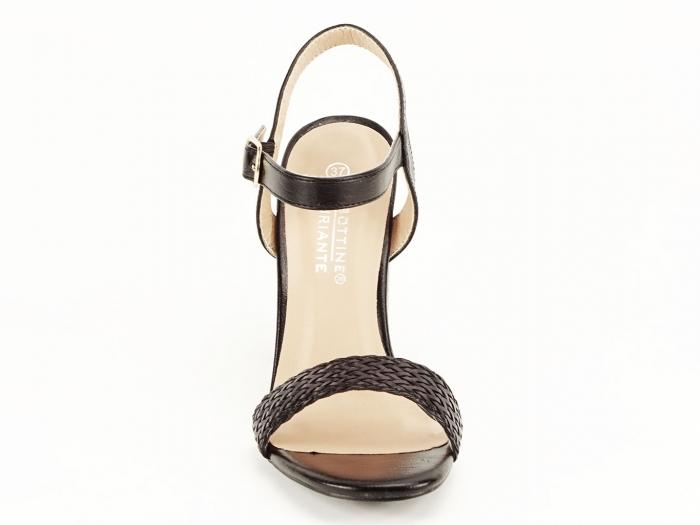 Sandale negre dama cu toc gros Leya 6