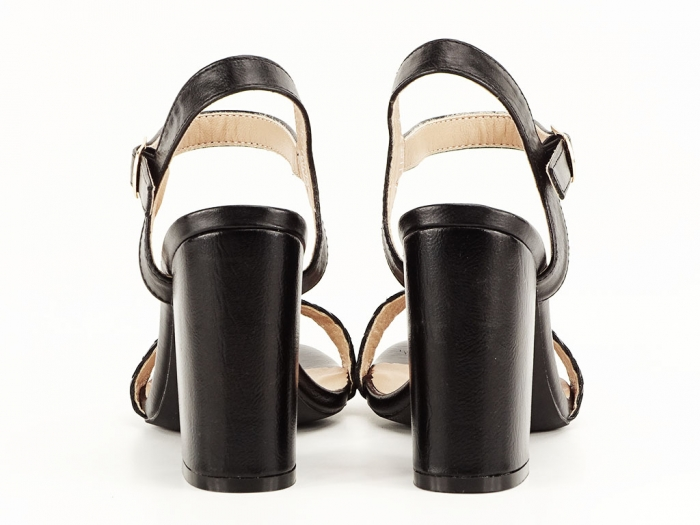 Sandale negre dama cu toc gros Leya 5