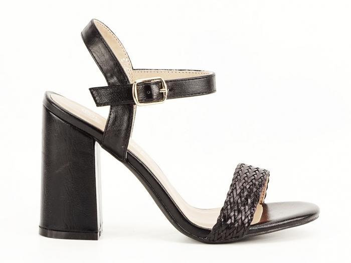 Sandale negre dama cu toc gros Leya 0