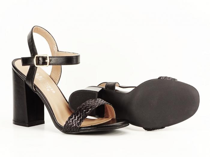 Sandale negre dama cu toc gros Leya 4