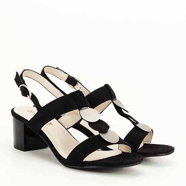 Sandale negre cu toc gros Sabrina [3]
