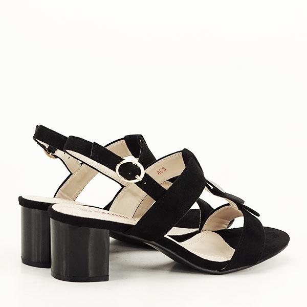 Sandale negre cu toc gros Sabrina [6]