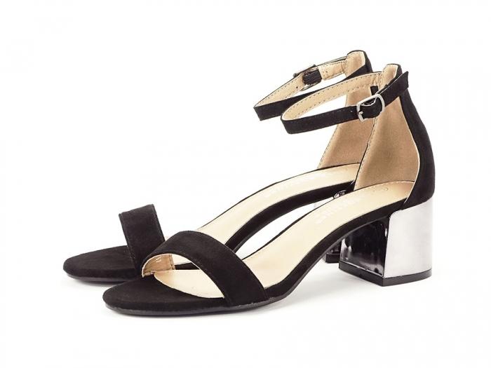 Sandale negre elegante cu toc mic Maya 6