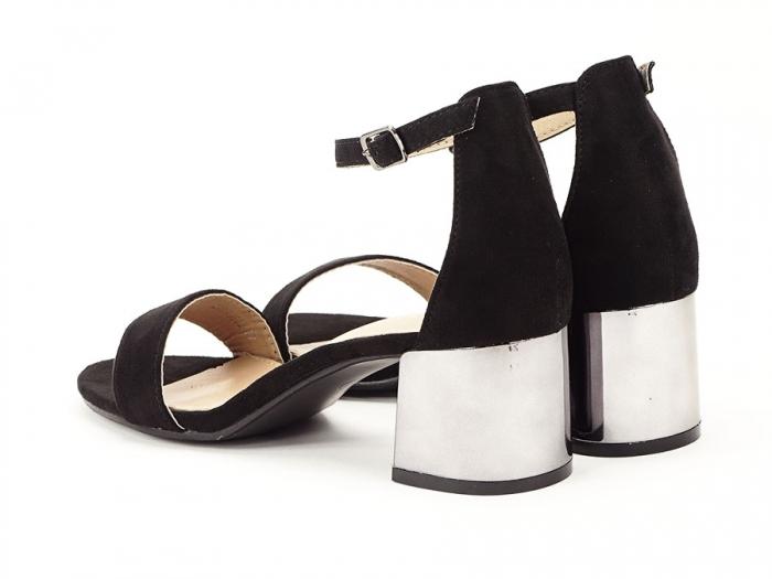 Sandale negre elegante cu toc mic Maya 2